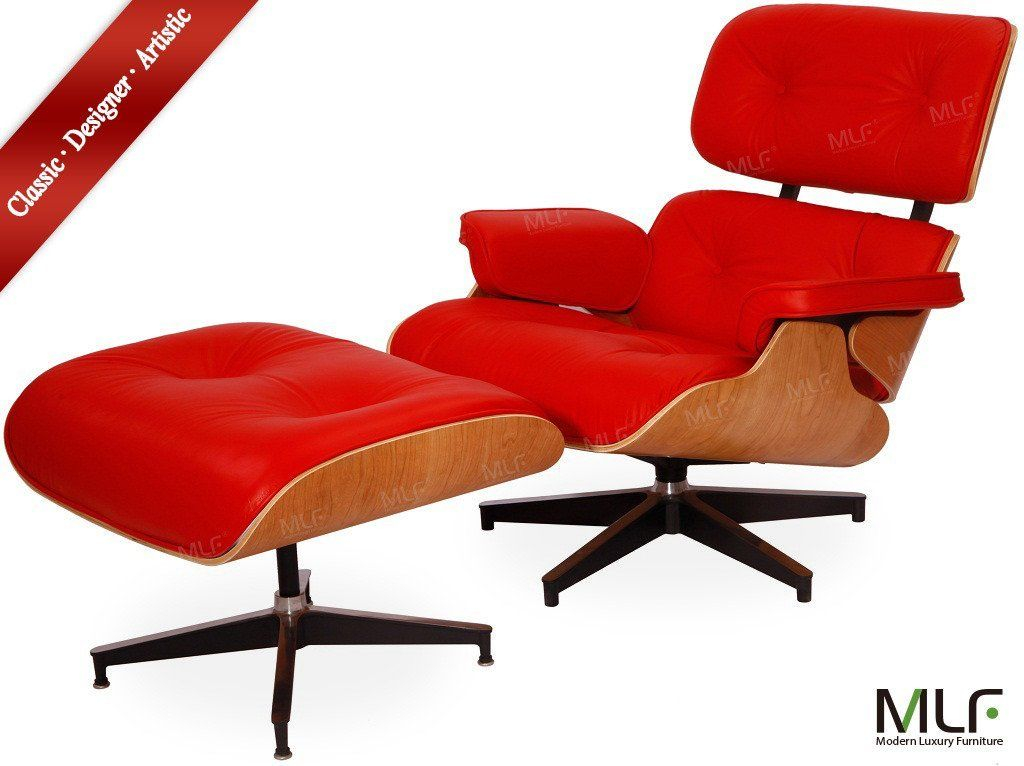 Mlf High Quality Reproduction Of Eames Lounge Chair Ottoman In Red Italian
