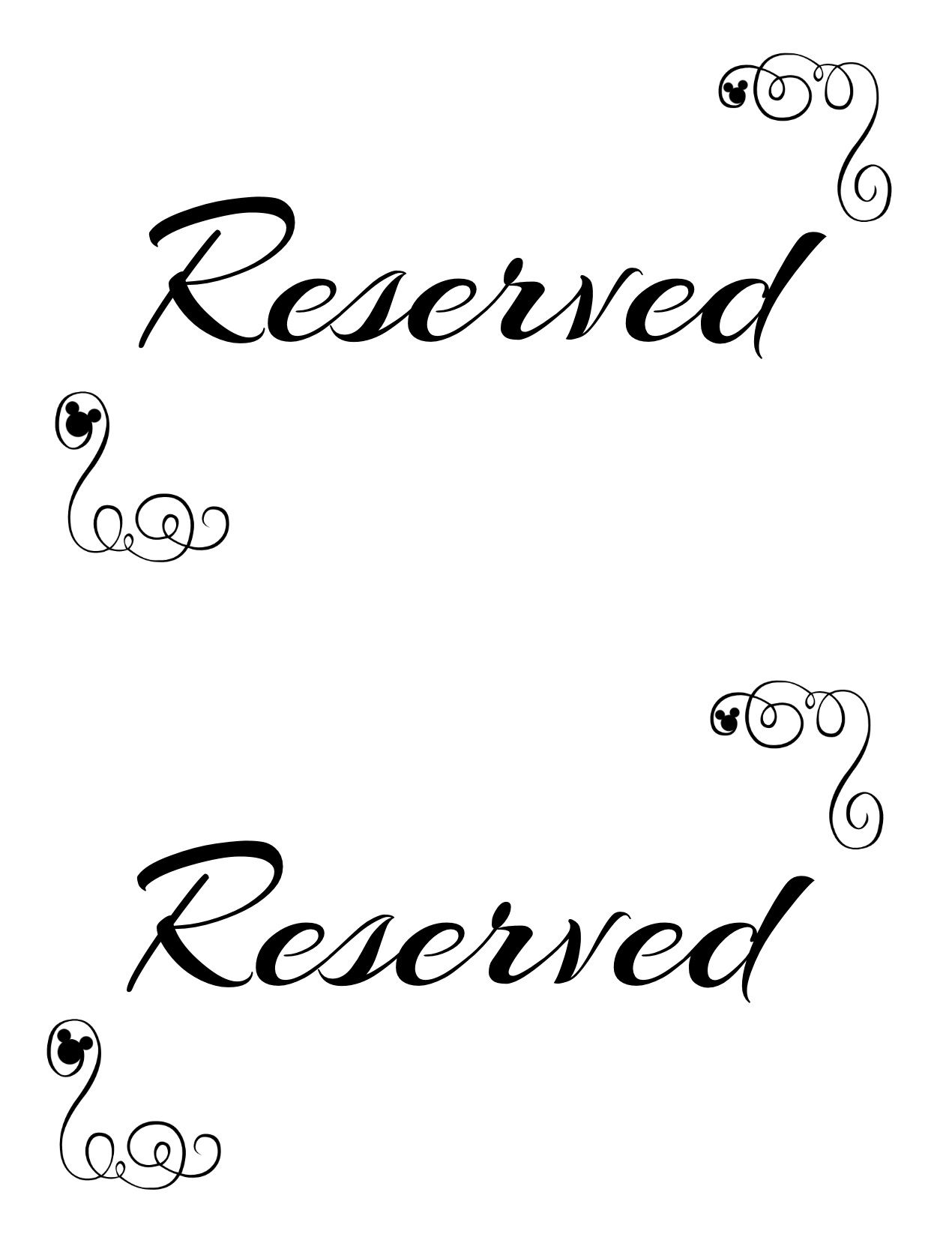 graphic about Printable Reserved Table Signs titled Totally free Printable Reserved Seating Symptoms for Your Marriage