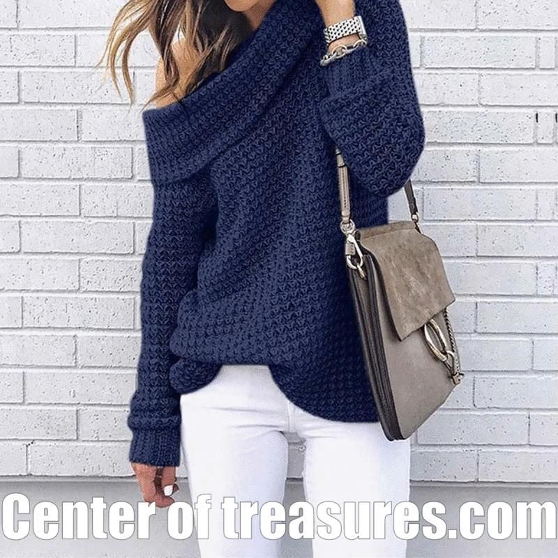 Women Pullover Sweater Off Shoulder Loose Knitted -   23 fall outfits 2020 for black women ideas