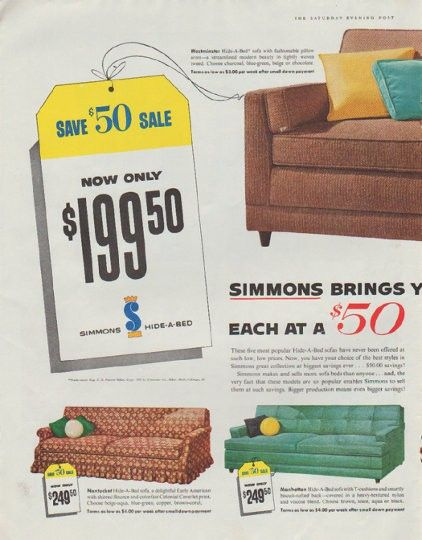 1958 Simmons Hide A Bed Ad Save 50 Sale Vintage magazines 50th