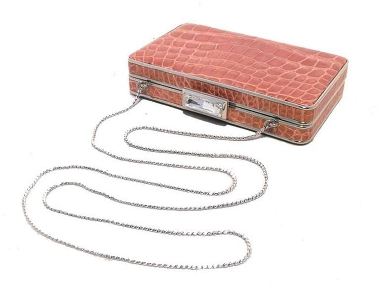 Judith Leiber Pink Alligator Box Clutch With Crystal Closure 6