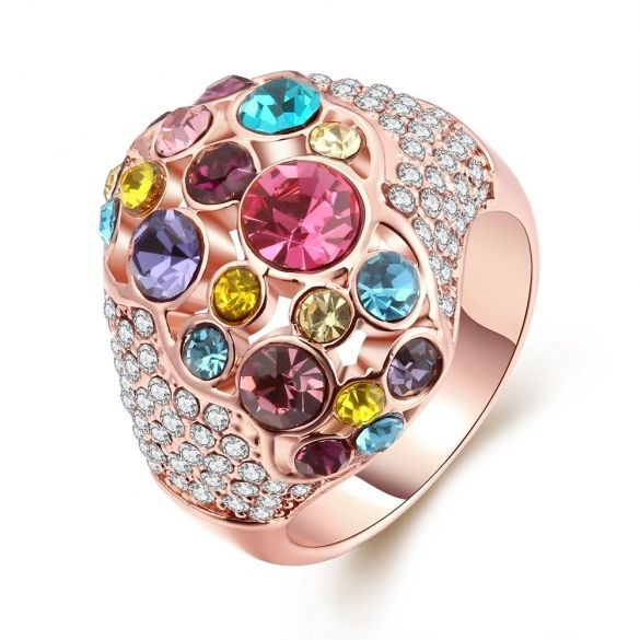 R027-8 Wholesale High Quality Nickle Free Antiallergic New Fashion Jewelry K Gold Plated Ring $4.89