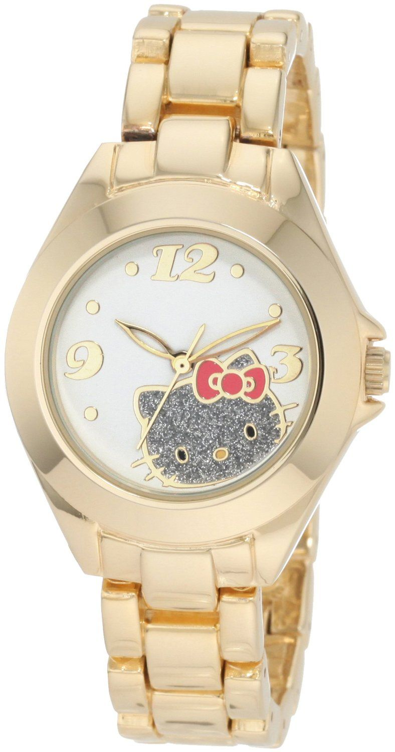 Hello Kitty by Kimora Lee Simmons Women's H3WL1033GLD   Gold Alloy Case And Glitter Face Watch, (hello kitty)