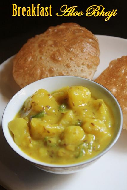 Puri bhaji recipe breakfast aloo bhaji recipe aloo bhaji without curry forumfinder Images