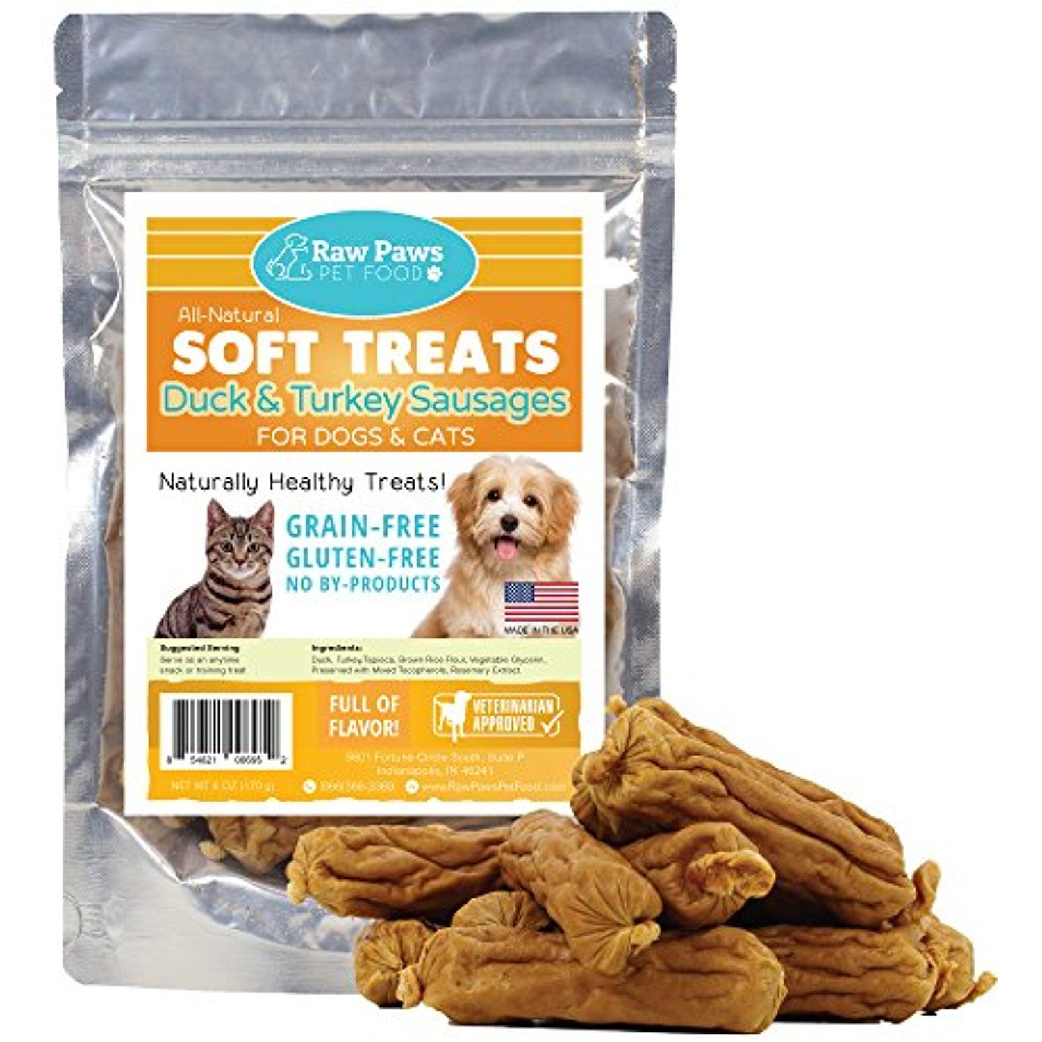 Raw Paws Pet Premium Soft Treats For Dogs Cats 6 Ounce Duck