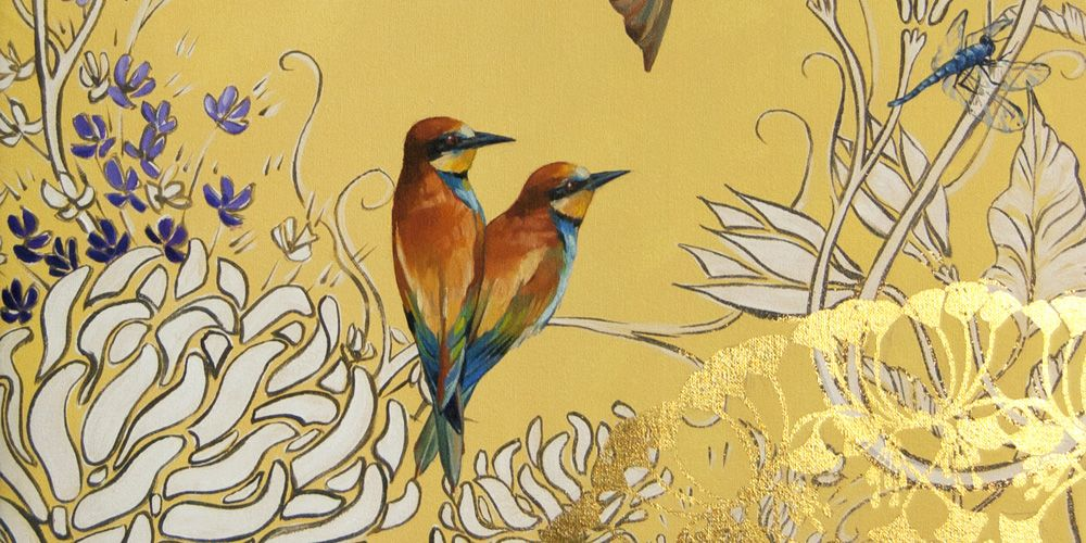 Ashley Cecil - Artist  European Bee Eaters on Yellow