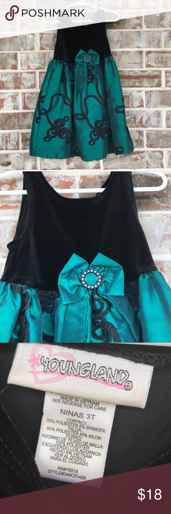 3t Youngland Dressy Green And Black Dress Black Dress Dressy Fashion [ 1740 x 580 Pixel ]