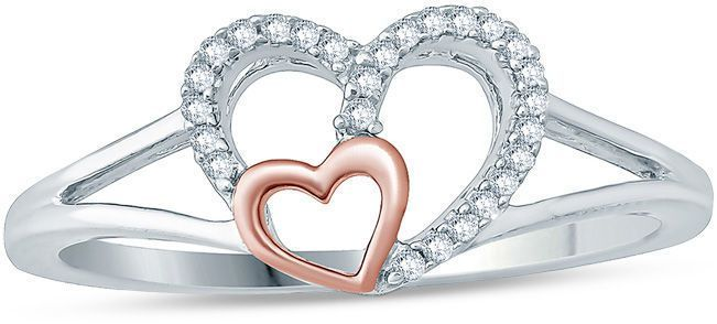 Zales Diamond Accent Double Heart Promise Ring in 10K White Gold with Rose IP XtAwAWCfg