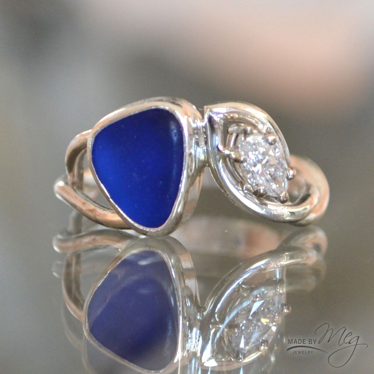 The Norwegian - Custom Sea Glass Engagement Ring with blue