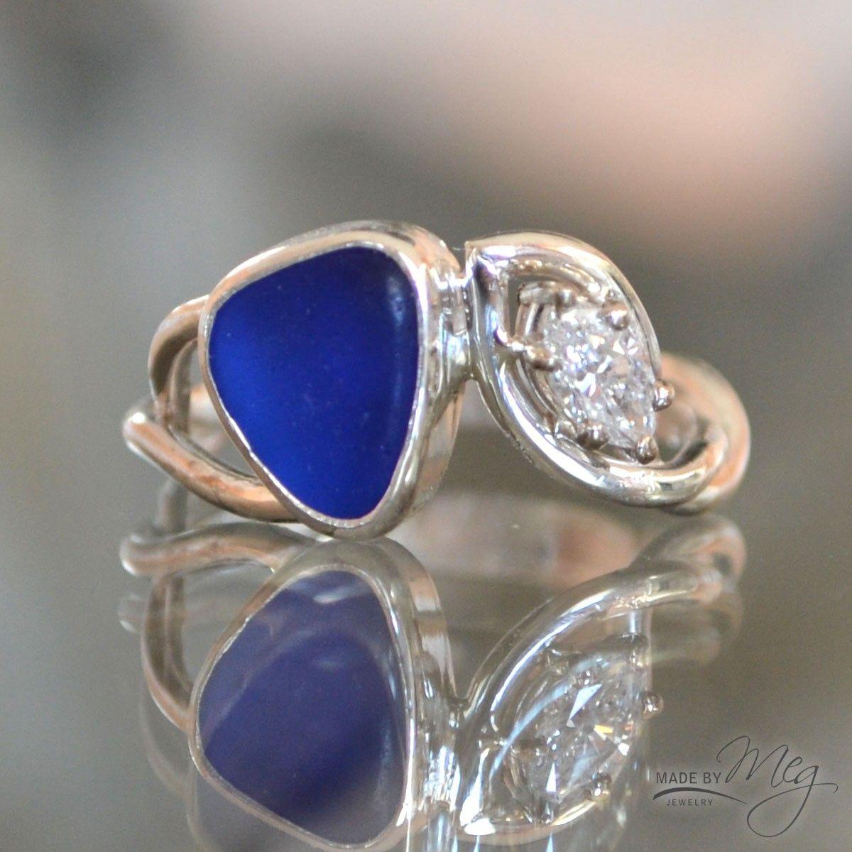 The Norwegian 1 Sea Glass Engagement Ring Jewelry Pinterest