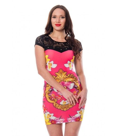Desenli Dantel Detaylı Kadın Elbise 110874