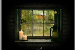 Widok Za Oknem Zmienia Sie Wraz Ze Spadajacymi Kroplami Deszczu