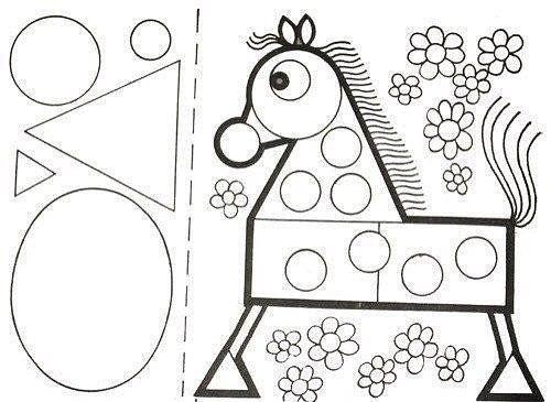 АППЛИКАЦИИ ИЗ ГЕОМЕТРИЧЕСКИХ ФИГУР | Kids math worksheets ...