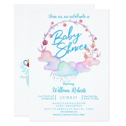 Sweet Cute Unicorn Watercolor Boy Baby Shower Card Shower Gifts