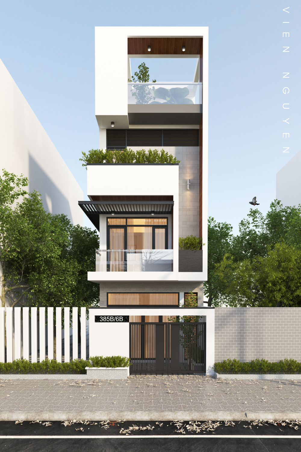 Small and tall modern building in dubai powered by Modern house columns