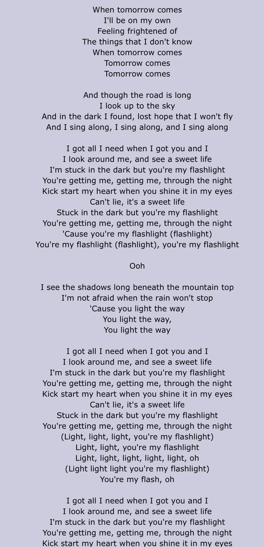 Jessie J Lyrics Flashlight Part 1