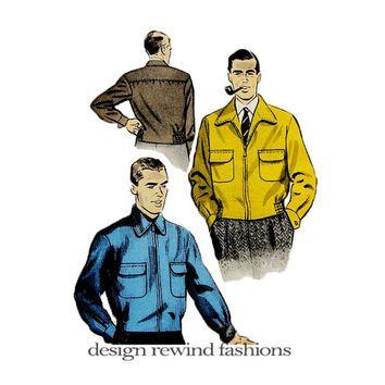 1950s MEN'S JACKET WINDBREAKER Pattern Lined Bomber Jacket Pattern ...