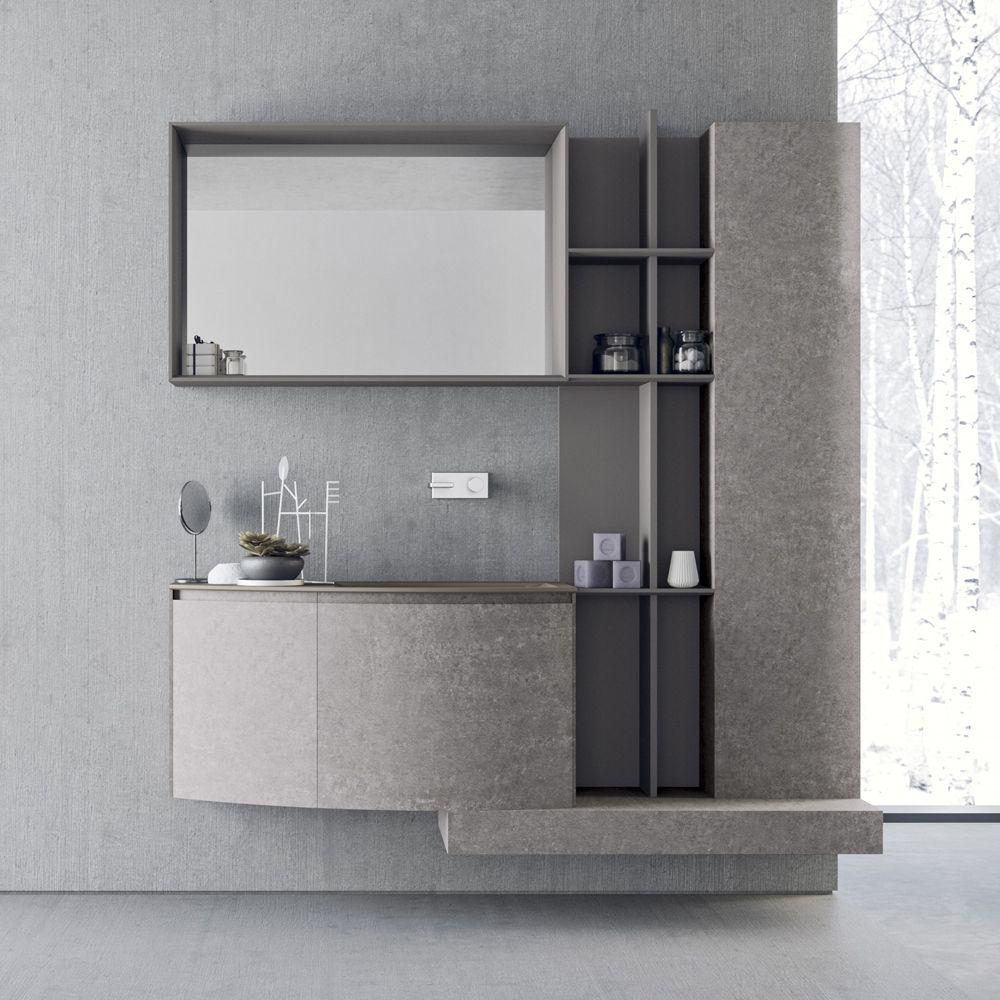 Composizione Bagno Sospesa Dal Design Moderno Novello Calix Set