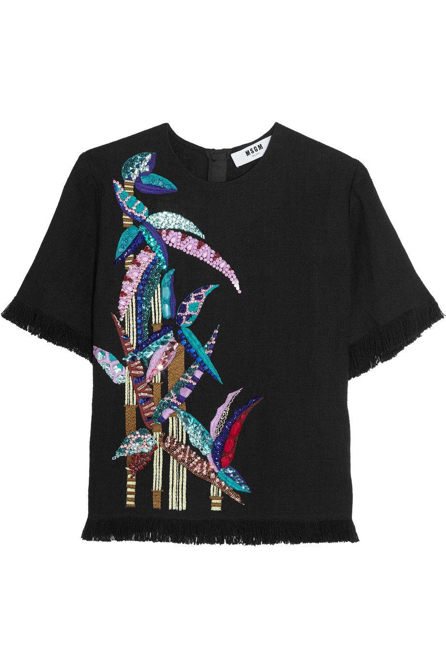 MSGM Fringed embellished linen top. #msgm #cloth #top