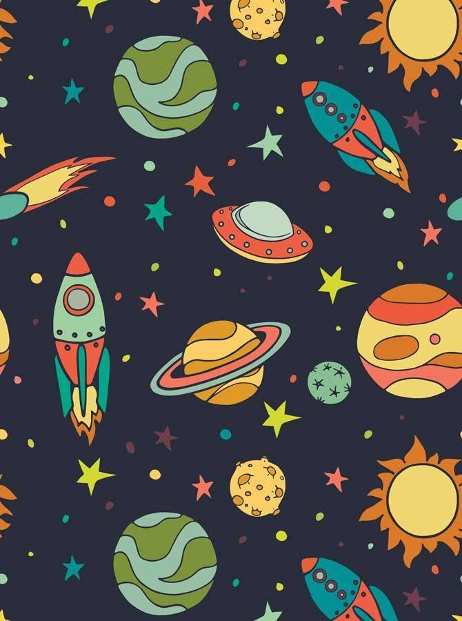 Space Backdrop 7617 Cartoon spaceship, Space