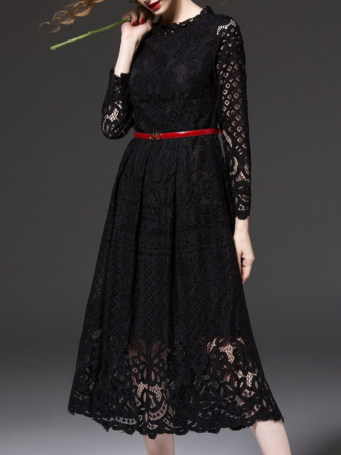 Black embroidered aline lace dress lace dress dress online and boho