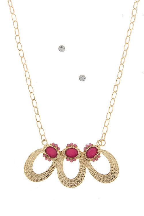 TRIPLE OVAL ACCENT NECKLACE SET #wholesale #clothing #pink #fashion #fall #October #love #ootd #wiwt #shorts #skirts #dresses #tanks #jeans #denim #tops #outerwear