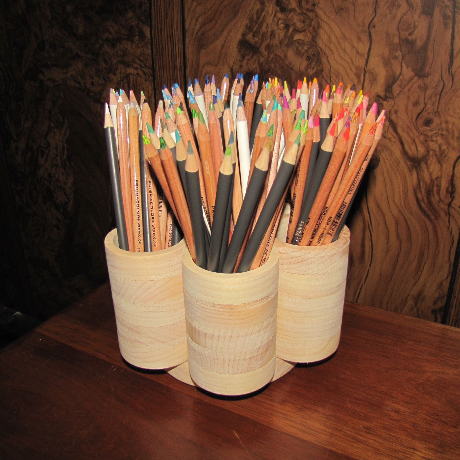 STUDIO Rotating Colored Pencil Holder Wood, Colored Pencil