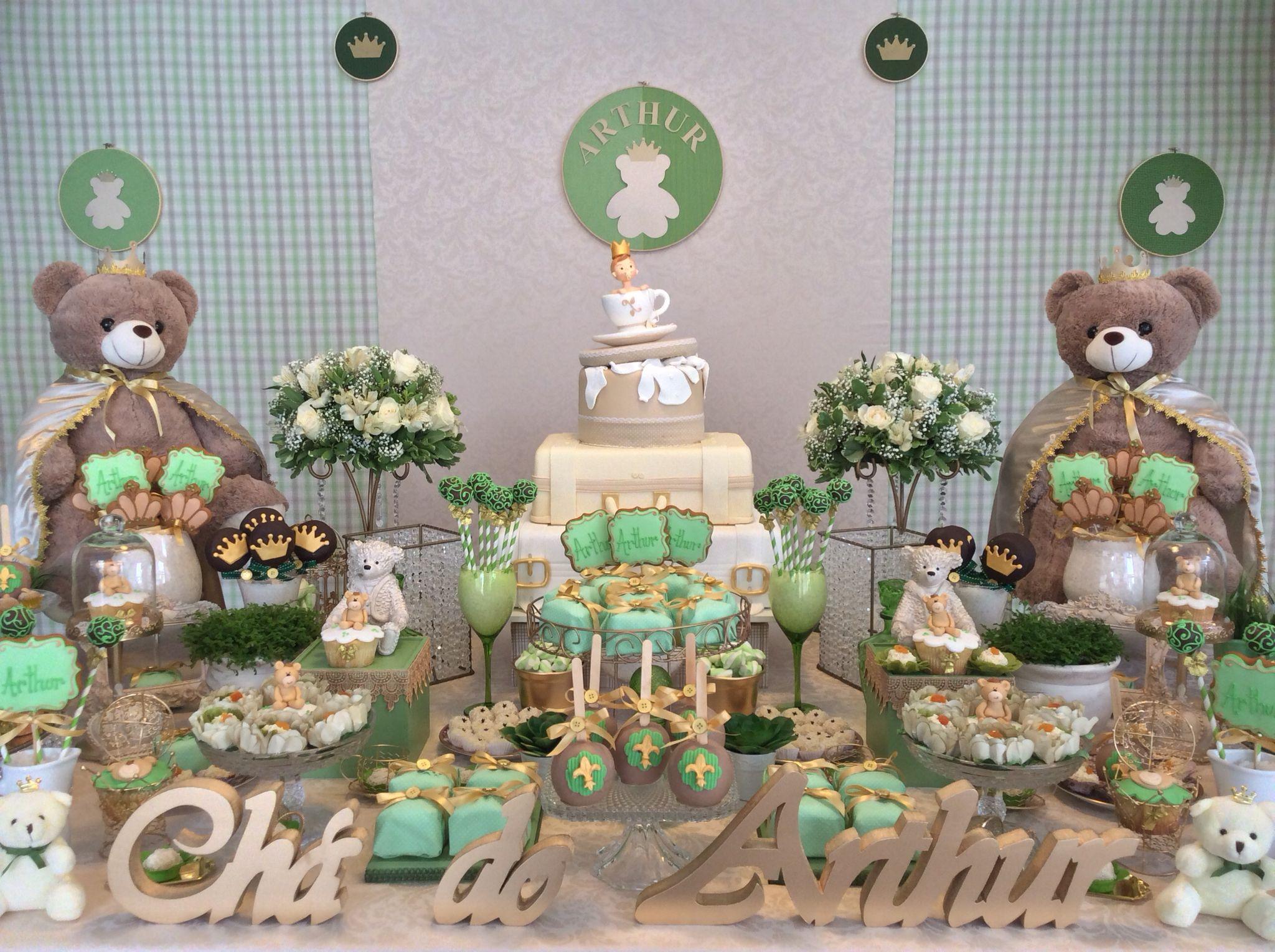 Decoraç u00e3o Chá de Beb u00ea Urso Príncipe Verde! Chá de beb u00ea urso príncipe Chá de beb u00ea verde  # Decoração Cha De Bebe Tema Urso
