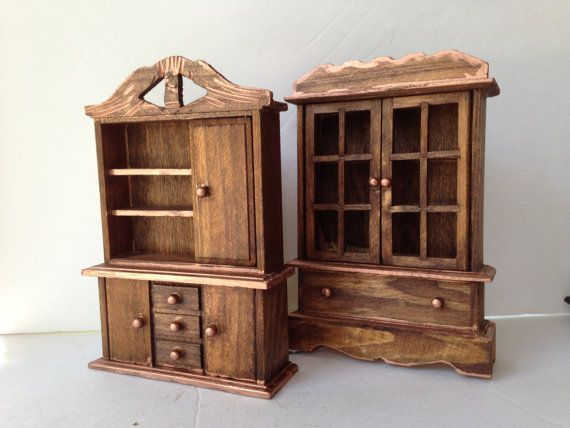 chestnut china cabinet miniature wooden kitchen furniture mini dining room wood hutch small scale doll house 112