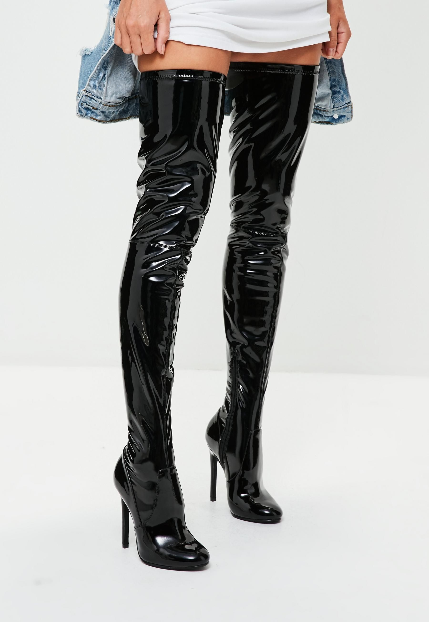 1eaa4aad6b2 Missguided - Black Vinyl Over The Knee Boots in 2019