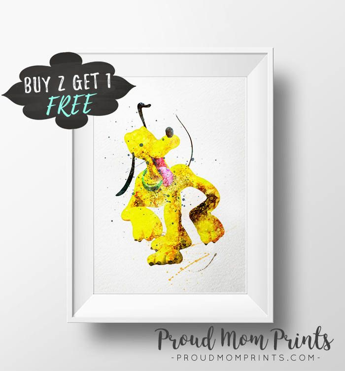 Pluto Wall Art Print Poster, Mickey Mouse Nursery Decor, Pluto ...