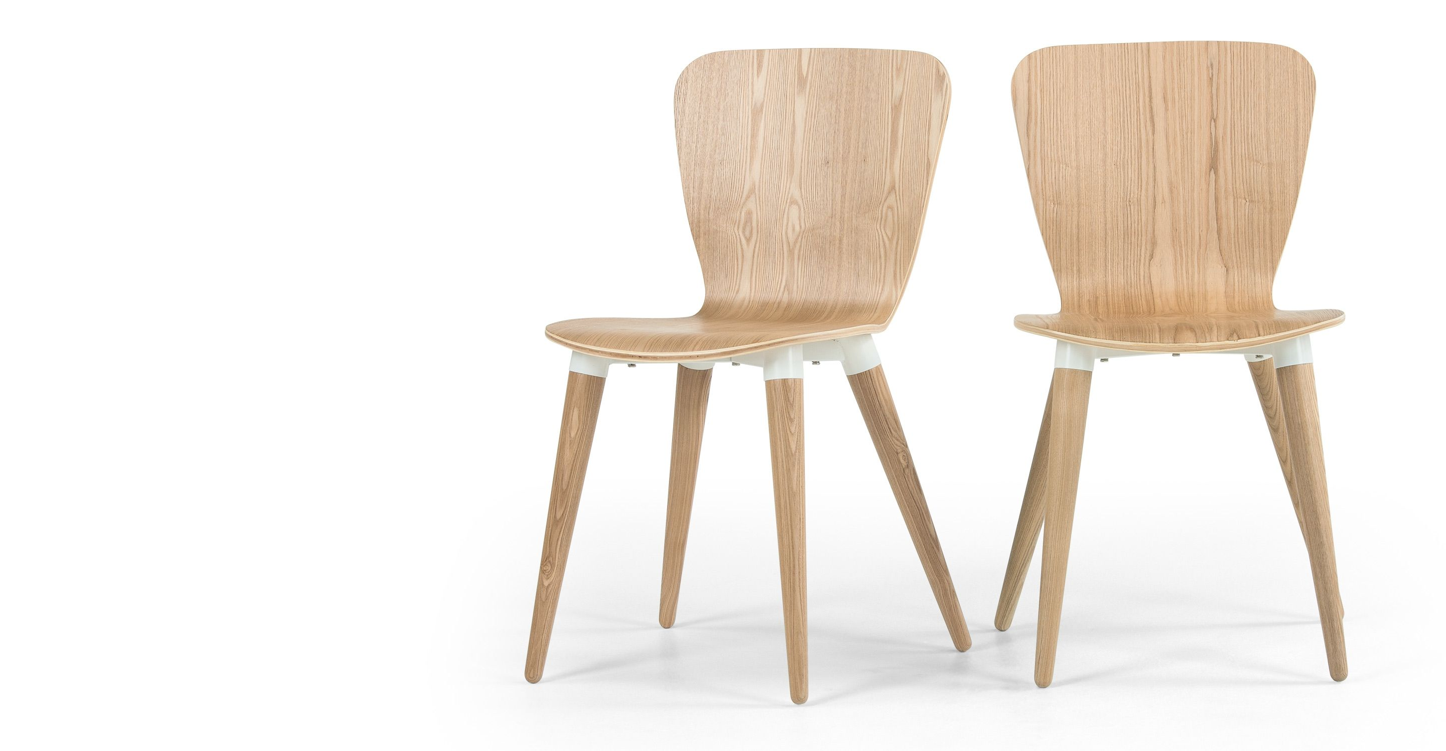 Chaises Design Metal Et Bois Dogewood Set Of 2 Edelweiss Dining Chairs Ash And White Flat Sedie