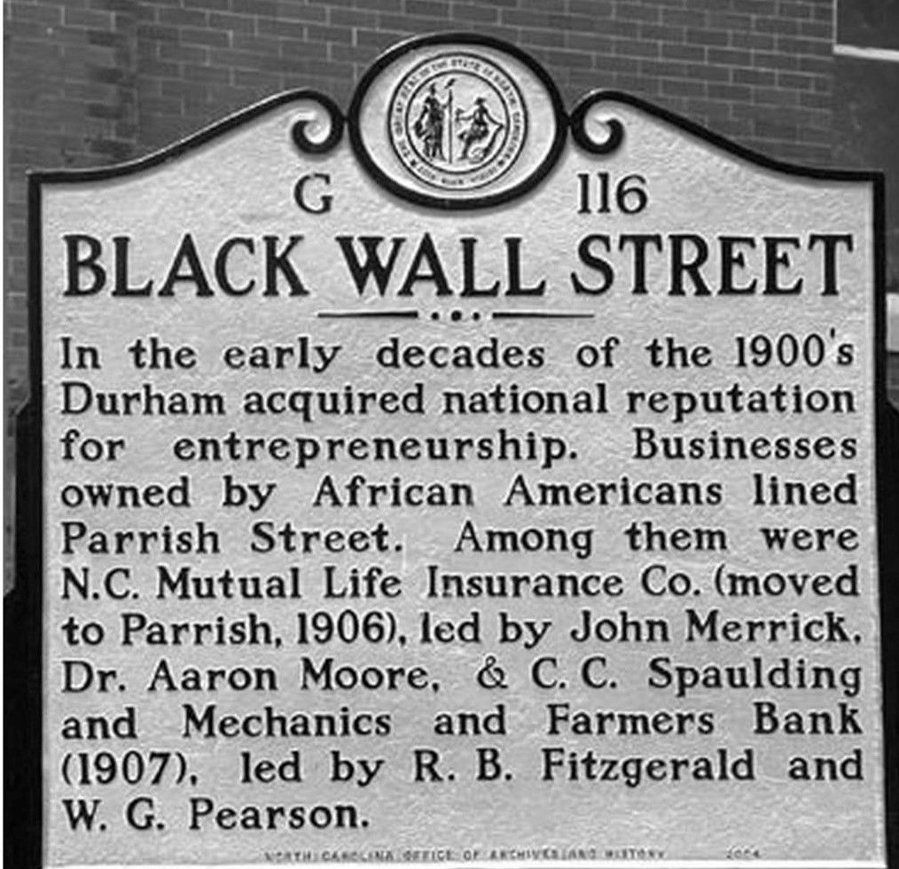 During the early 1900s, Durham, NC was known as Black Wall