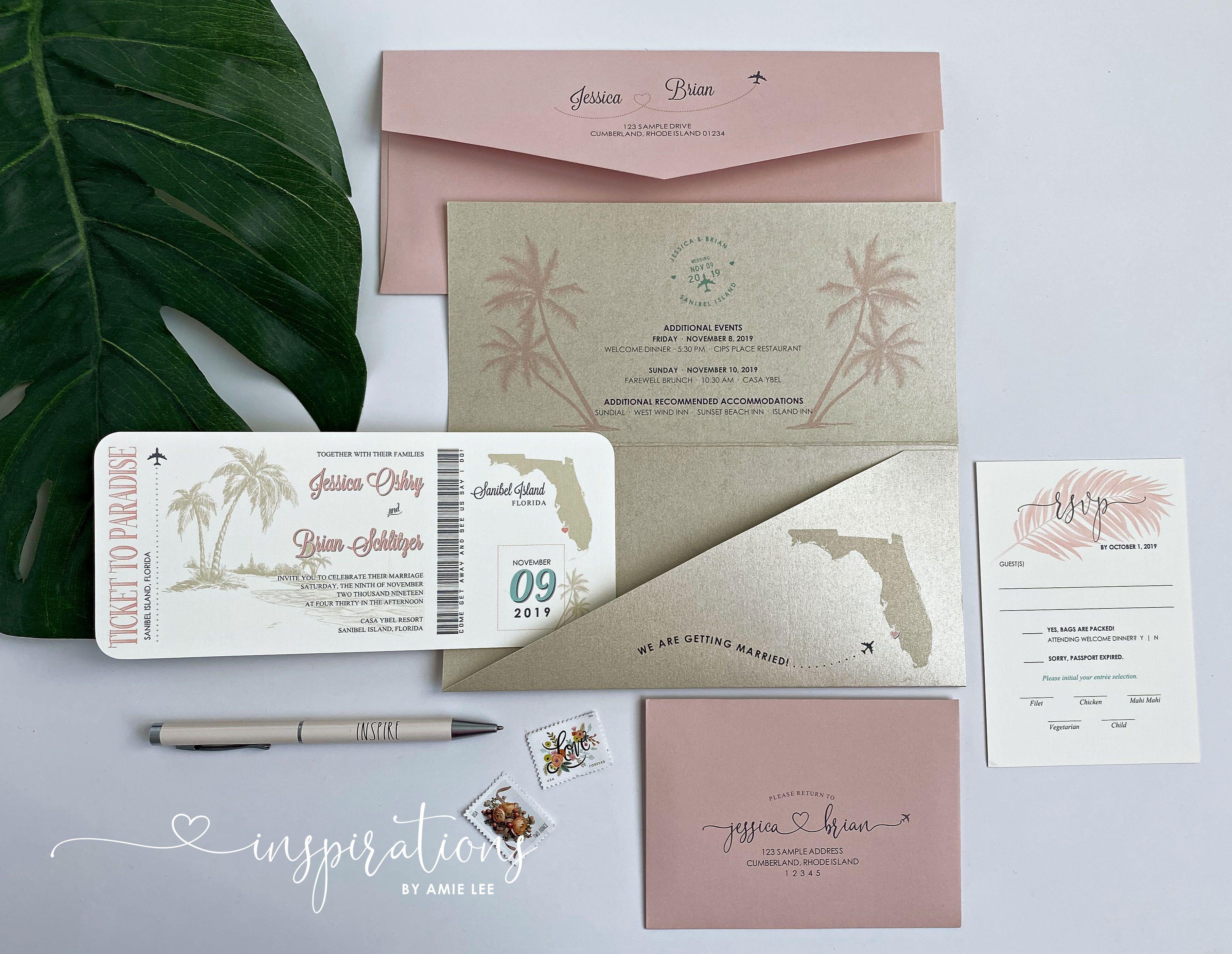 boarding pass wedding invitations destination wedding
