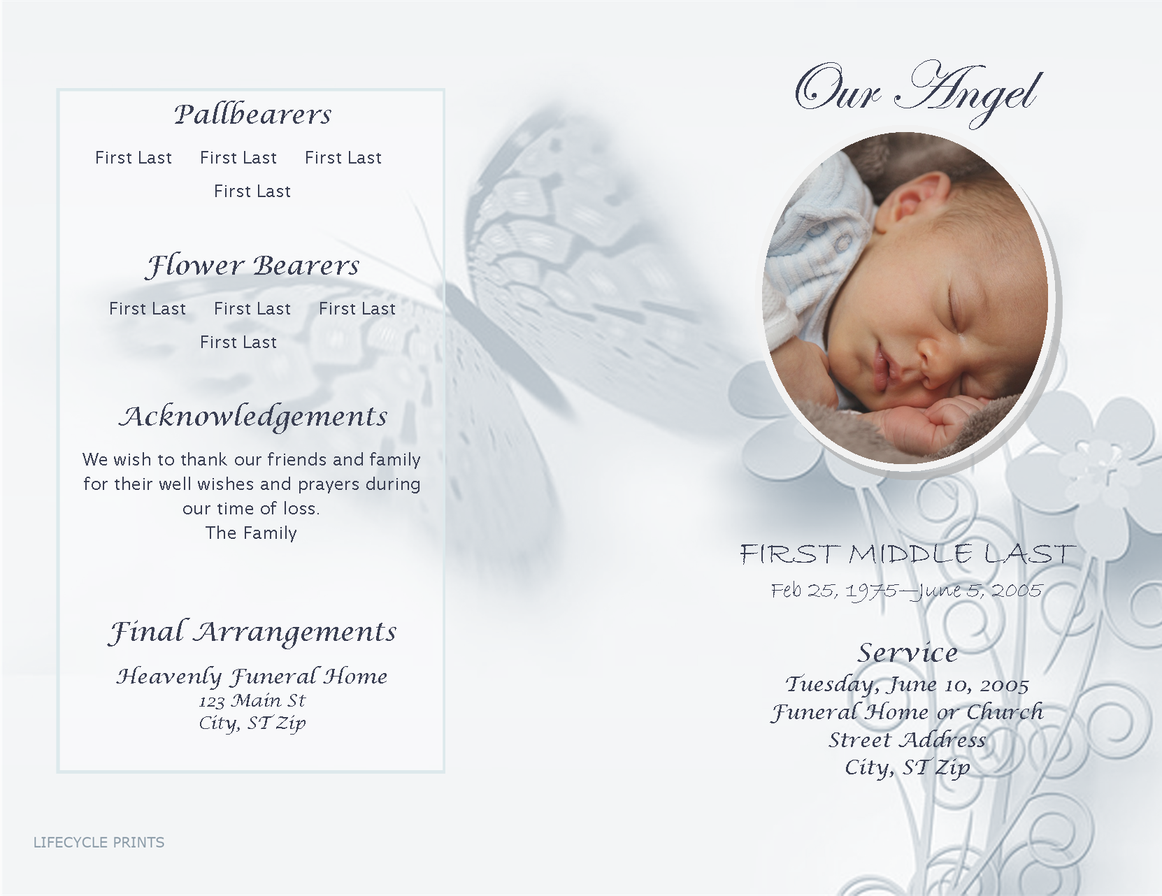 Pinterest  Free Printable Obituary Program Template