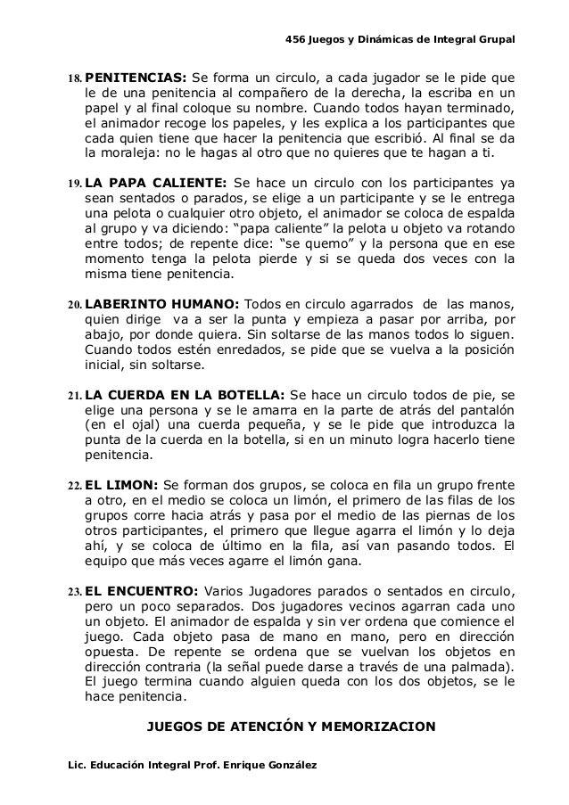 456 Juegos Y Dinamicas De Integral Grupal 18 Penitencias Se Forma