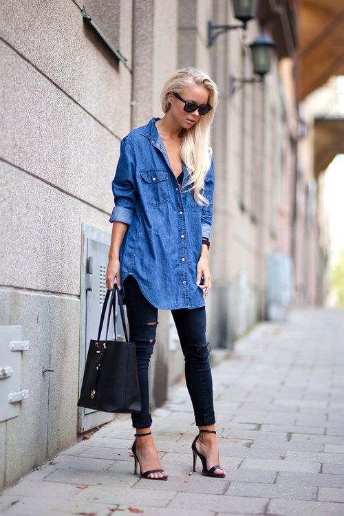 fdab470ba4b8 Oversized chambray shirt, black skinnies, and strappy heels.  tumblr_mtfk5guPji1qj6yu8o1_500