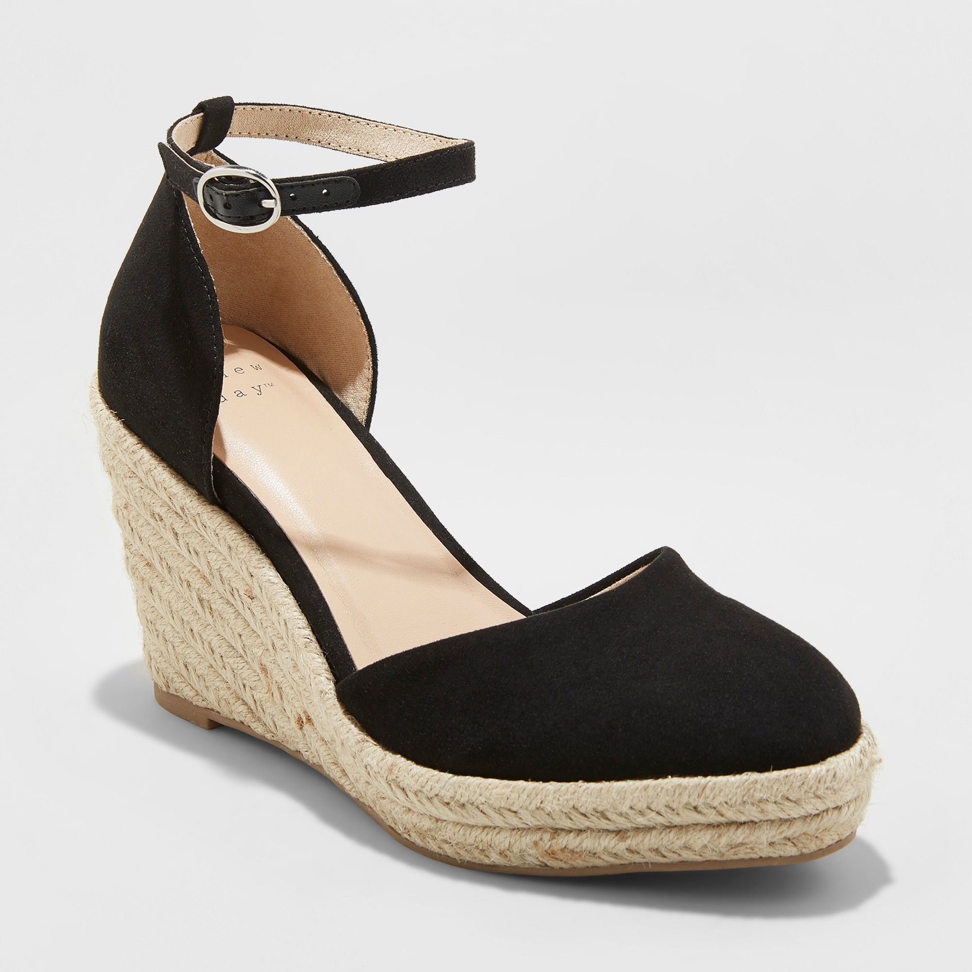 70a2426f668 Women's Olivia D'Orsay Closed Toe Espadrille Wedge - A New Day Black ...