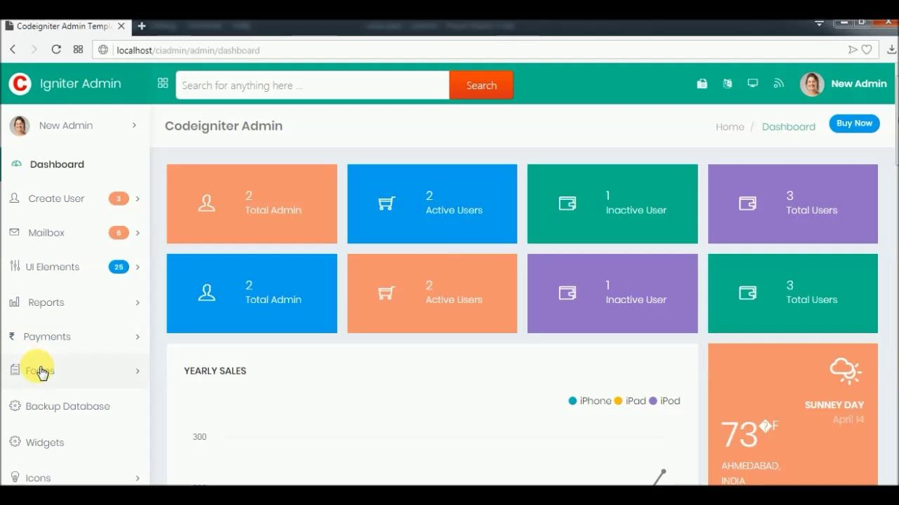 Codeigniter Admin Template Integrated with User Management