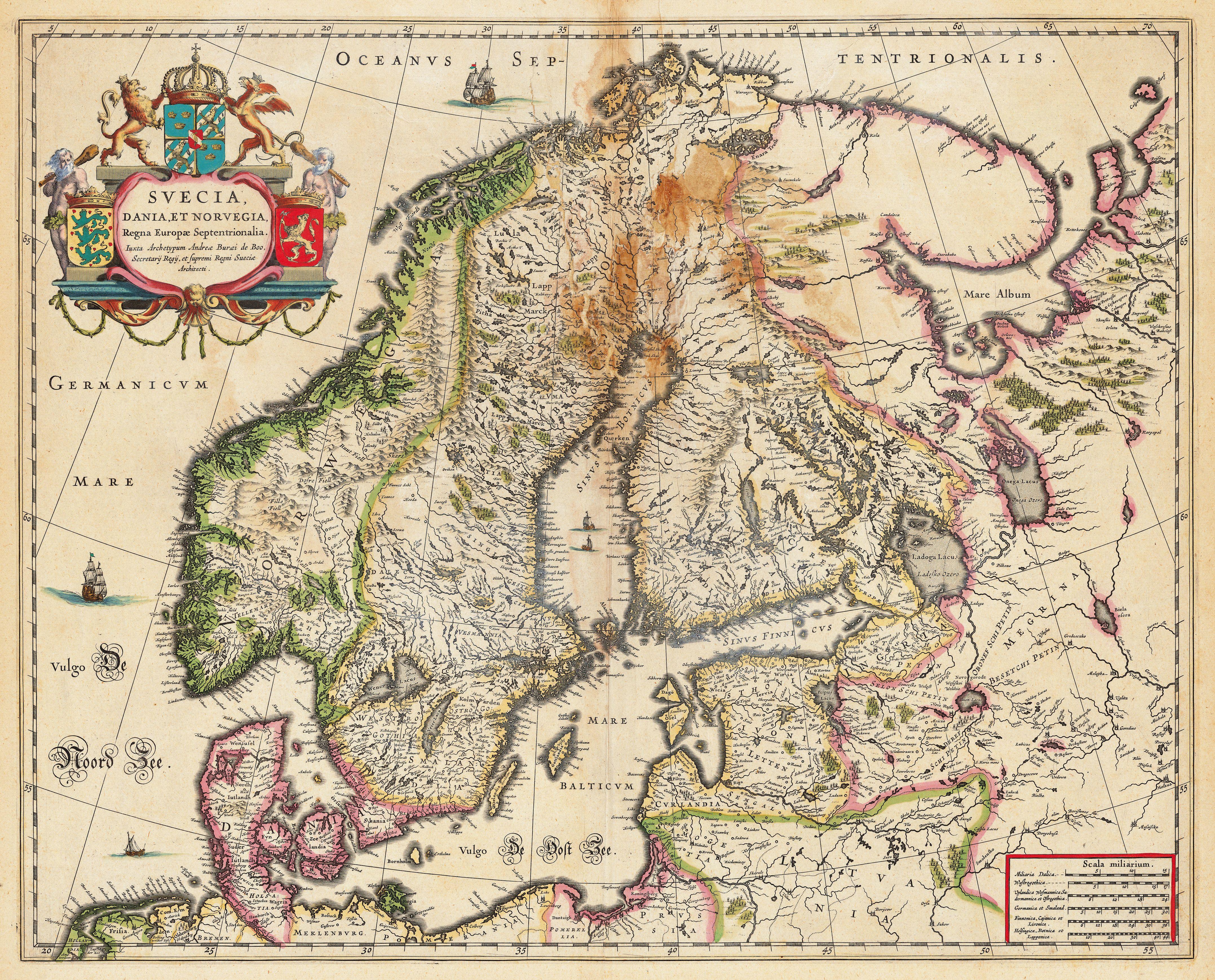 Svecia Dania Et Norvegia Anders Bure Th Century Map - 17th century world map