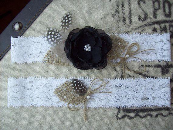 Rustic Wedding Garter SetKeepsake & Toss by smelltheroseboutique, $26.95