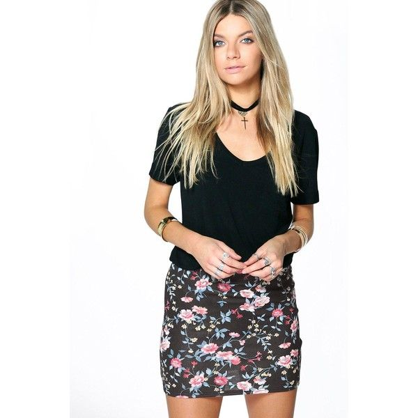 002c2dbe999 Boohoo Ellanor Ditsy Print Floral Mini Skirt ( 10) ❤ liked on Polyvore  featuring skirts