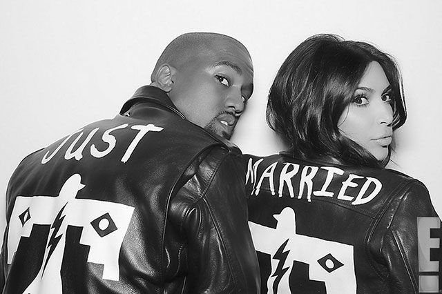 Kim And Kanye Wearing Black Leather Jackets Just Married Kim Kardashian Wedding Kim Kardashian And Kanye Kimye Wedding