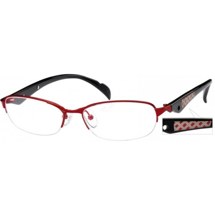 With confident style, this half-rim frame of metal alloy and acetate templespresents a sharp and fashionable look.  Cross hatch design adds flavor tothe designer temple arms of this quality frame while adjustable nosepadsallow for a custom and comfortable fit.