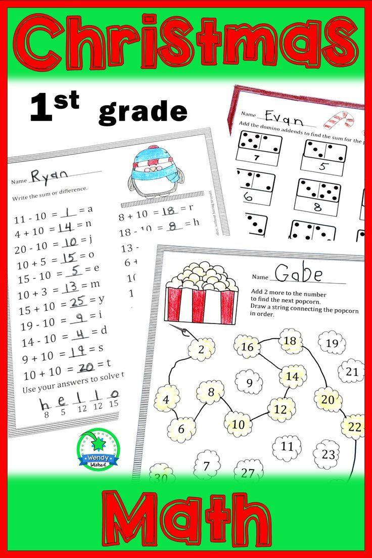 Christmas Math Worksheets for First Grade Christmas math