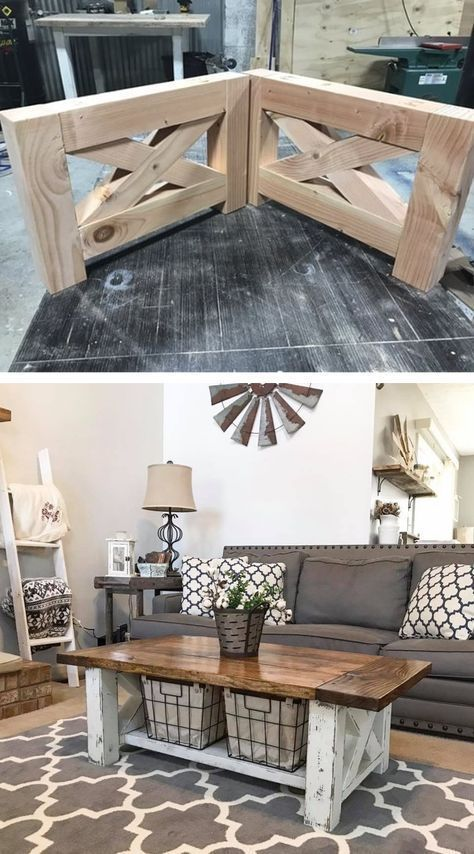 Photo of DIY farmhouse coffee table for home living room # coffee table # farmhouse # …
