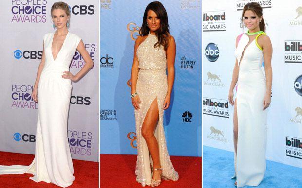 """Vestidos longos Eles precisam estar aqui, afinal, tem gente que procura looks mais sofisticados para as noites de Ano Novo. Taylor Swift apostou no decote """"uau"""", Lea Michele deixou o toque sexy para a fenda e Selena Gomez fez um mix de transparência, cores e perna de fora."""
