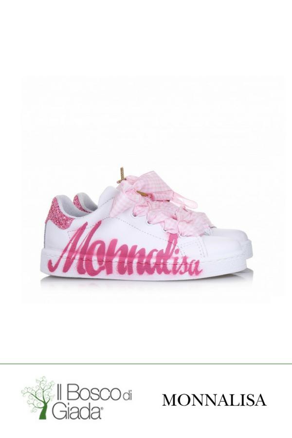 Scarpa bianco rosa Monnalisa Cerimonia - Scarpa bianca e rosa ... d63c01a45de