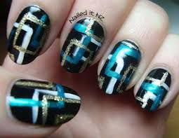 blue black and silver nails