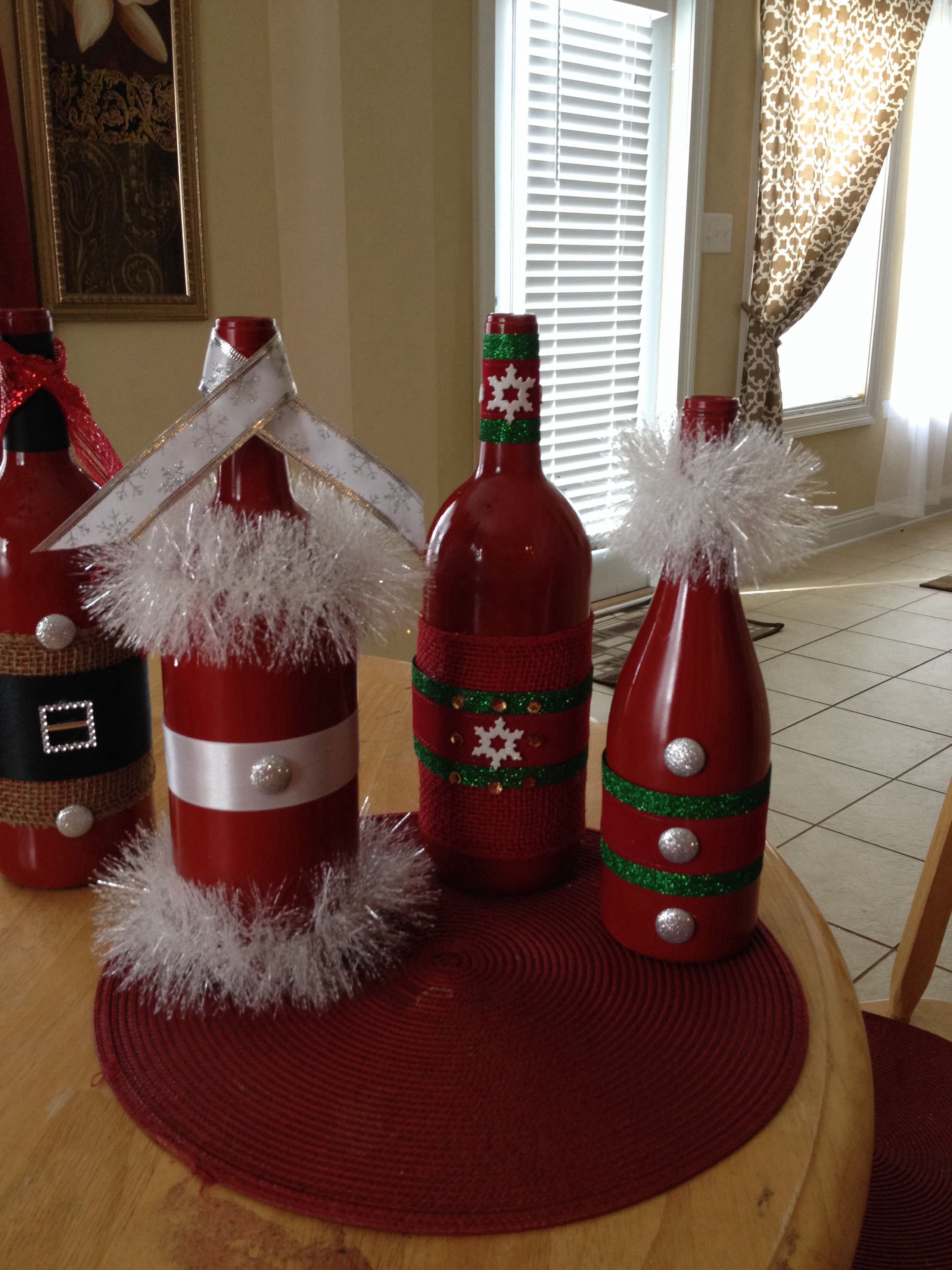 Christmas Wine Bottles Christmas Wine Bottles Bottle Crafts Christmas Wine
